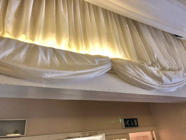 Used 11m x 18m Ivory Pleated Roof Lining with Gables and Swags