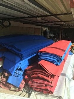 Blue and red marquee carpet for sale