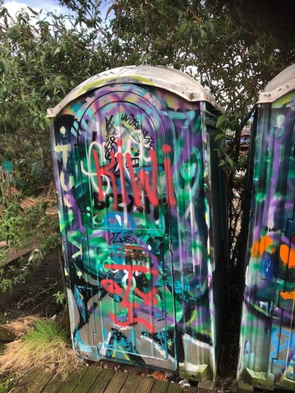 Grafitti portable toilets