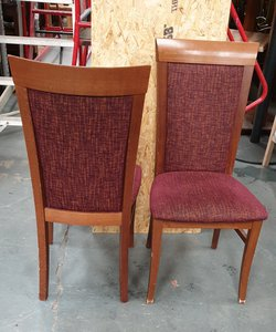 Polished Wood Burgundy Chairs