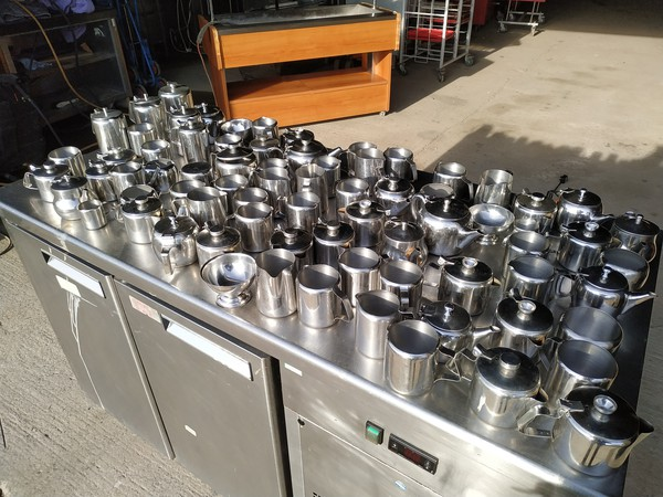 teapots, coffee pots, milk jugs, sugar bowls cutlery