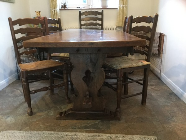 Antique dining table with ladder back chairs