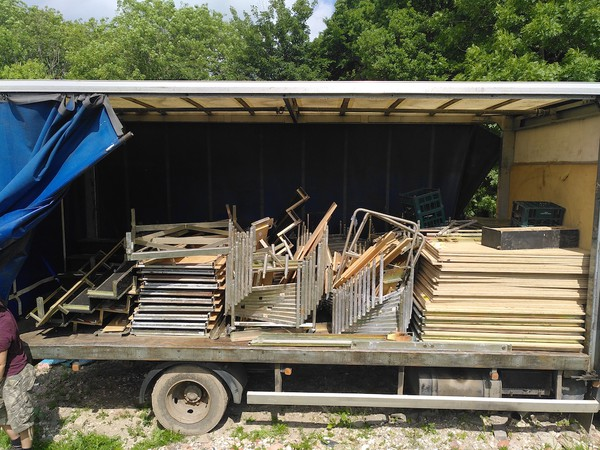 staging loaded on lorry