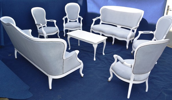French Province Armchair - White & Silver - Oxfordshire