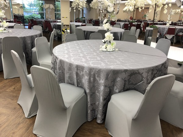 Grey spandex chair cover