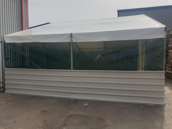 Mesh (Cloth) and steel sides aluminium structure.