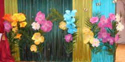 Large Net Artificial Fabric Flowers Mixed