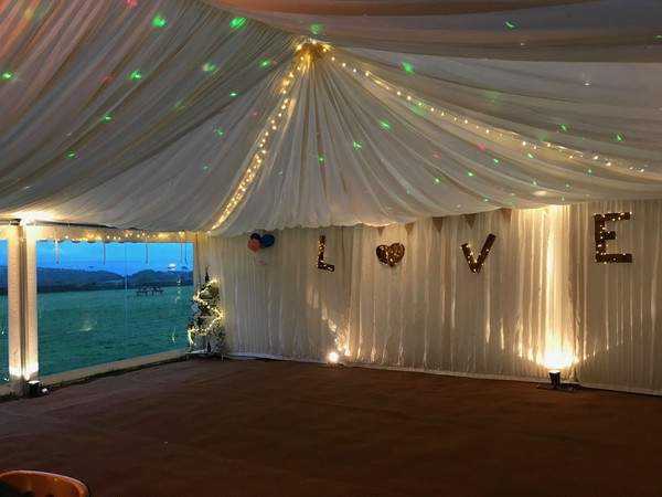 Marquee lining with pea lights