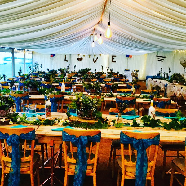Rustic wedding venue marquee
