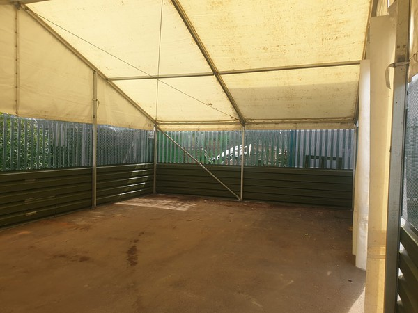 Mesh side marquee with PVC roof