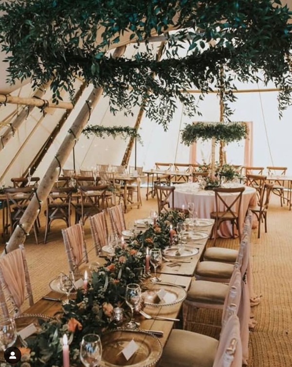 tipi set up for a wedding