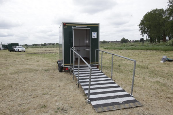 Wheel chair accessible toilet trailer