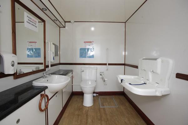 White interior disabled toilet