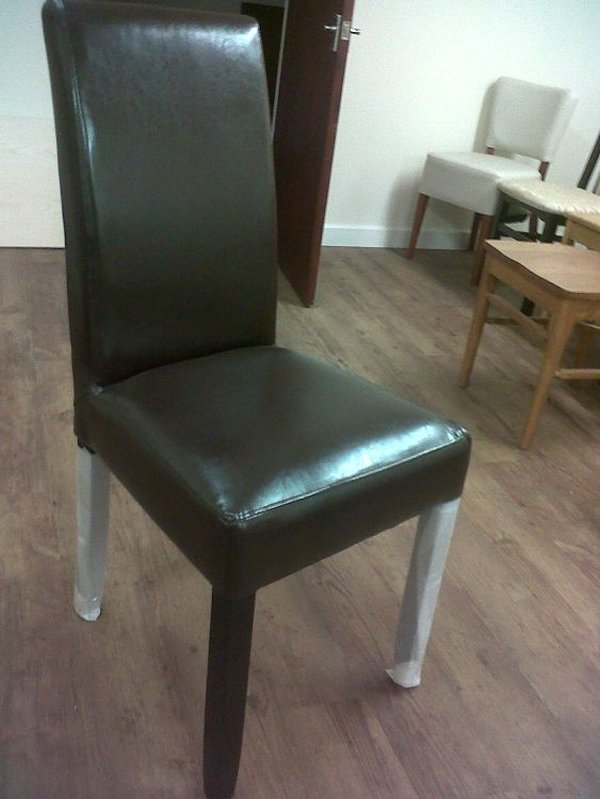 60x Slightly Used Brown Faux Leather Restaurant Chairs - Cambridgeshire