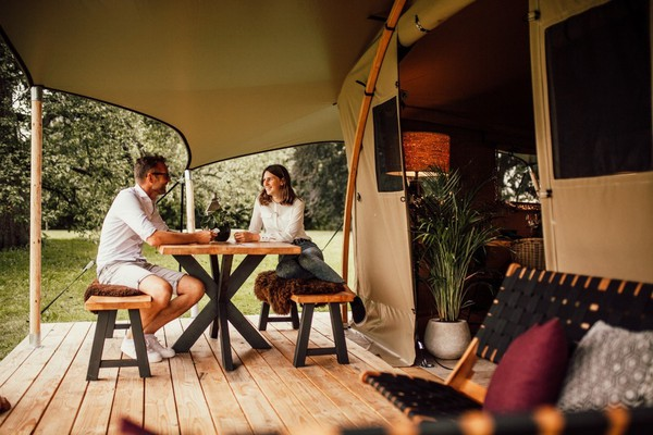 Glamping lodge tent with porch