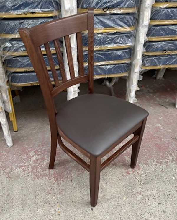 Walnut Frame Chair with Chocolate Brown Faux Leather Cushion