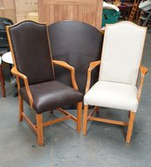 37 No. Brown and Cream faux leather shieldback dining chairs