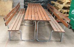 New Galvanised Metal with Hardwood Slats Picnic Tables