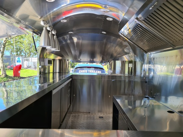 Stainless steel interior catering trailer