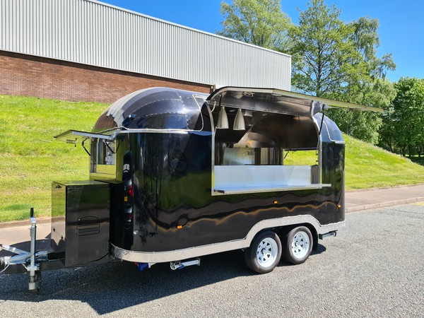 Twin wheel Airstream catering trailer
