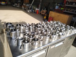 job lot of stainless steel jugs