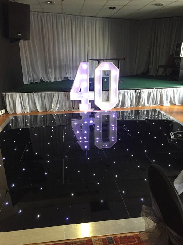 Black 16 x 16 LED Starlit Dance Floor