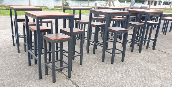 Outdoor Bar Tables and High Stools