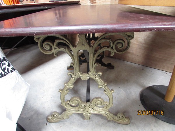 Pub table with cast Iron bases