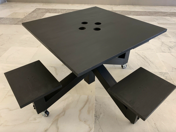 Matt black tables and chairs