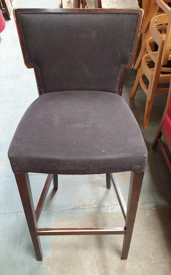 High bar chairs  with a dark grey / Black flat weave fabric