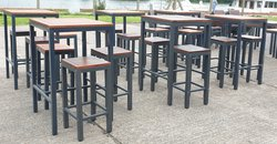 High bar tables and stools