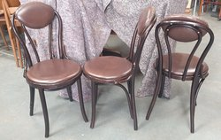 Leather Upholstered Bentwood Hoopback chairs