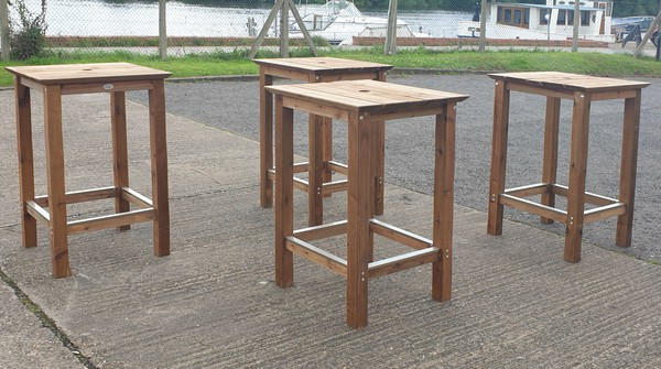High wooden bar tables