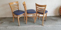 Junior Dallas Chairs With Blue Faux Leather Seats