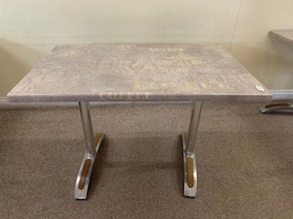 Cafe tables with aluminium table bases