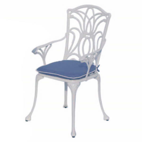 Outdoor armchair with blue seatpad