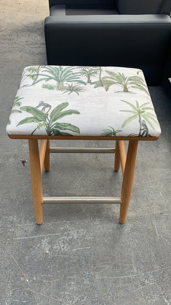 Oak frame stools with Tropical Fabric Job Lot