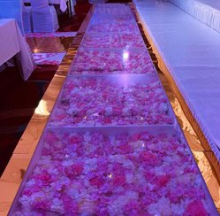 Acrylic gold edge flower walk way