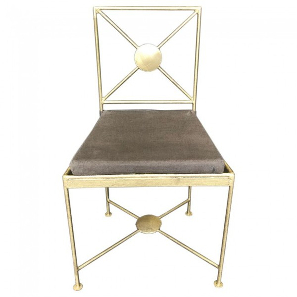 Gold Painted Metal Dining Chairs