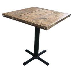 Square table with pedestal base