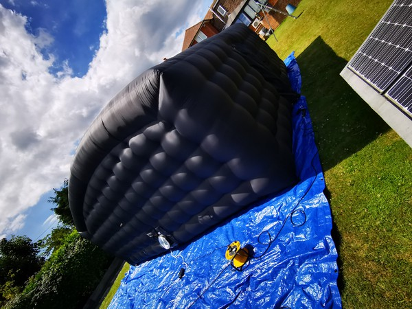 Inflatable blackout structure cinema room