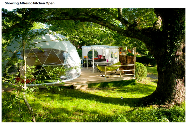 Glamping Dome on wooden base