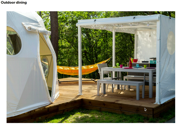 Outdoor Dining - Glamping pod