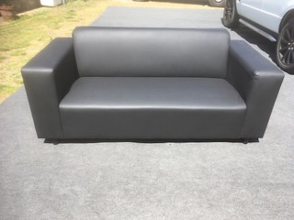 Black Faux Leather Settee