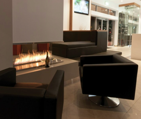 Indoor fireplace without flue
