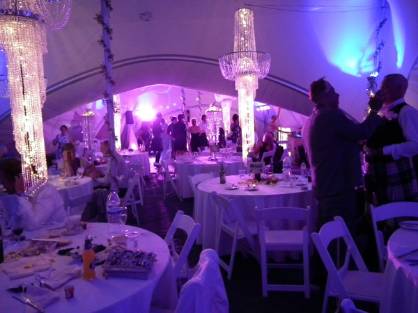 Evening marquee with chandeliers