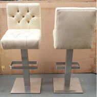 Cream leather high bar stools