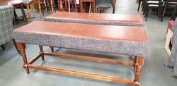 Pair of Freestanding Leather Seat Benches
