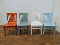 Cafe chairs In Orange, grey, white and blue