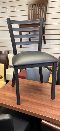Black metal framed chair